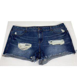 Forever 21 Plus Size Distressed Frayed Jean Shorts